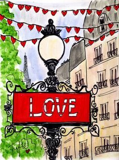 ORIGINAL PAINTING... Fifi Flowers' Sign of Love in Paris