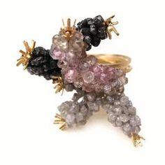 Donna Brennan Rough Diamond & Sapphire Gold Ring