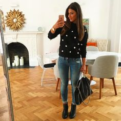 Mimi Ikonn | Polka dot jumper with black booties, light-wash jeans & Stella McCartney black Labella shoulder bag. | OOTD