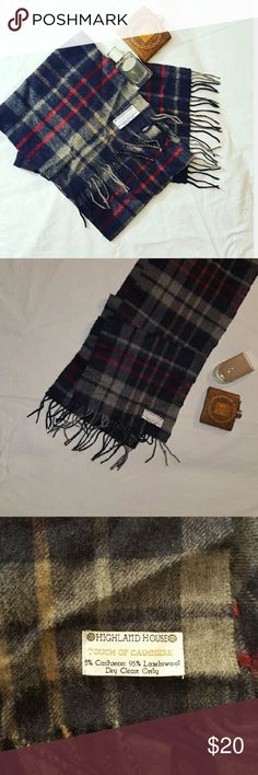 """Wool Plaid Scarf Highland House 5% Cashmere 95% Lambswool Great Condition Plaid: Black, Various Shades of Grey, Light Brown and Red Stripes Approximate measurements: length 32"""", width 10.25"""" Highland House Accessories Scarves"""