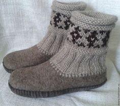 Купить тапочки валяные - бежевый, войлок, войлок ручной работы, войлочные тапочки, войлочная обувь