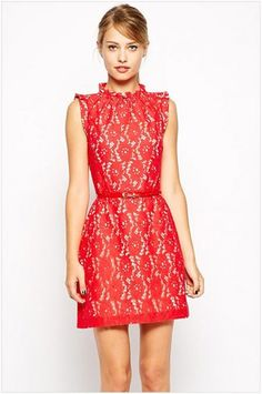 Sleeveness High Neck Lace Skater Dress(Free Shipping)