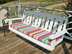 Porch swing after getting a paint makeover and new no sew cushion that can be made in minutes. Porch Swing Cushions, Garden Bench Cushions, Outdoor Cushions, Outdoor Seating, Porch Swings, Chair Cushion Covers, Outdoor Cushion Covers, Diy Cushion, Pillow Covers
