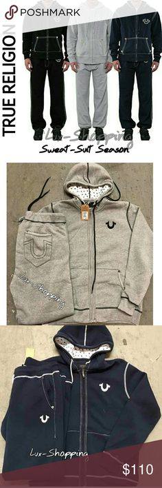 100% Auth True Religion Stitch Sweat Suit Outfit AVAL COLORS: Blue, Grey, Black  True Religion Stitch Hoodie & Pant set!  Webby horseshoe print; Classic zip,  Raw edge detailing and thick contrast stitching give a twist to a classic, making it perfect for crisp.  Sweatpants have the same look as your favorite jeans, and the comfort of your favorite sweatpants. These are the perfect athleisure piece, ideal for lounging or wearing out!  89% Cotton, 11% polyester Imported 100% Authentic True…