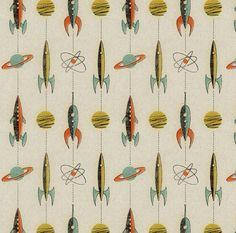 Retro Rocket Fabric  Retro Rockets By Mumbojumbo  от Spoonflower
