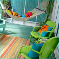 Love the bright colors here! Great color for a porch floor. Aqua is way more fun… Love the bright colors here! Great color for a porch floor. Aqua is way more fun than typical porch grey! Outdoor Spaces, Outdoor Living, Outdoor Decor, Outdoor Ideas, House Of Turquoise, Green Turquoise, Blue Green, Porch Flooring, Beach House Decor