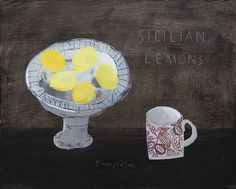 Sicilian Lemons by Elaine Pamphilon | Mixed media on canvas | 40 x 50 cm #elainepamphilon #tannerandlawson #stilllife
