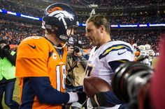 San Diego Chargers live stream, radio and TV info Denver Broncos, Broncos Vs, San Diego Chargers, Peyton Manning, Life Is Like, New Woman, Athlete, Football, Couple Photos