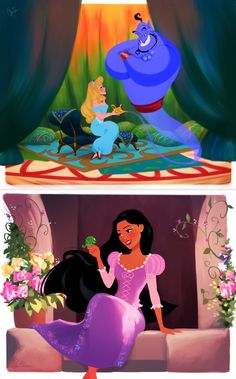 Aurora as Jasmine and Pocahontas as Rapunzel. Posted on tumblr.com by dylanbonner.