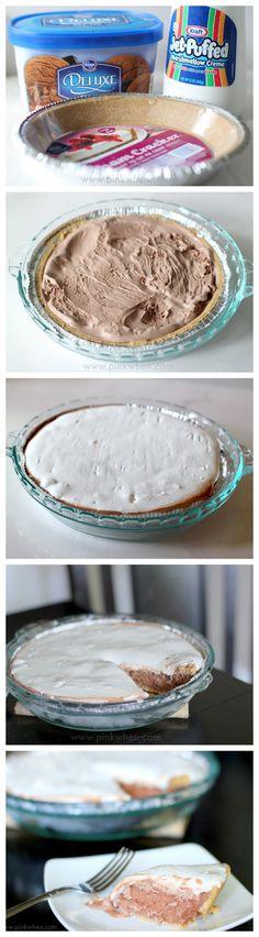 NO BAKE - 3 INGREDIENT - 5 MINUTES - HEAVEN!!!  Frozen Chocolate S'Mores Ice Cream Pie Recipe.