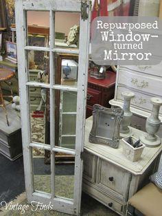 Vintage Finds: Repurposed Window -Turned Mirror Vintage Funde: R Vintage Windows, Old Windows, Barn Windows, Old Window Projects, Diy Projects, Window Ideas, Diy Shutters, Repurposed Shutters, Bedroom Shutters