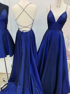 Simple Royal Blue Satin Long Open Back V Neck Prom Dress from Sweetheart Dress Royal Blue Prom Dresses, Pretty Prom Dresses, Simple Prom Dress, Blue Evening Dresses, Evening Party Gowns, Backless Prom Dresses, Dress Prom, Dress Lace, Prom Dresses Long Open Back