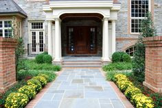 front entrance = brick and bluestone Inviting Entrances - traditional - entry - philadelphia - Burke Brothers Landscape Design/Build Slate Walkway, Brick Walkway, Front Walkway, Brick Fence, Concrete Fence, Front Yard Fence, Small Fence, Fence Stain, Horizontal Fence