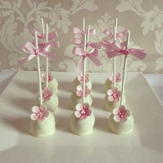 White chocolate cake pops for a baby girls, birthday or christening/babyshower