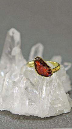 Jennifer Kalled, Boulder opal ring in 22k and 18k gold.  Boulder opal from Bill Kasso.  www.kalledjewelrystudio.com