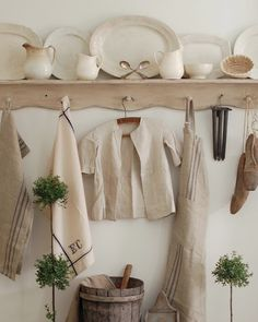 Ironstone and linen - a great combination