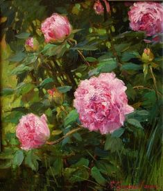 Personal site of artist Azat Galimov. Flowers and Fruits Romantic Paintings, Artist Painting, Garden Art, Peonies, Floral Wreath, Painting Flowers, Fruit, Florals, Ideas