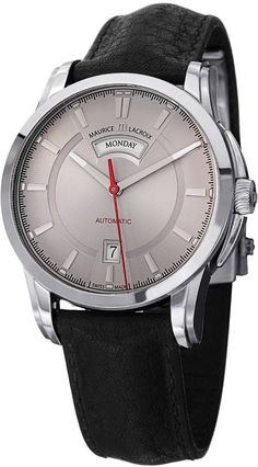 men watches Watches for men Maurice Lacroix Men's Pontos Grey Dial Black Leather Strap Automatic Watch PT6158-SS001-231