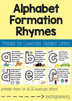 Teach little ones how to write lowercase alphabet letters with these alphabet formation rhymes! This set of printables explains how to write the lowercase letters with a fun little rhyme. These can be used as posters around a room, tracing with a finger, or tracing with a writing utensil. There are 26 rhymes in this collection. This product is a digital file and no physical product will be shipped.