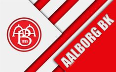Download wallpapers Aalborg BK, 4k, material design, red white abstraction, logo, Danish football club, Aalborg, Denmark, Danish Superliga, football