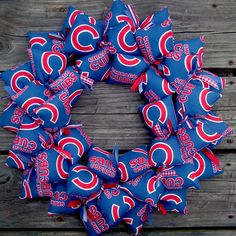 Chicago Cubs fans UNITE!  This IS the year!  We can only hope.   SooBoo Designs has created a full Cubs fabric wreath for all you poor diehard fans out there. I am one of them, so I can say that.  Thi