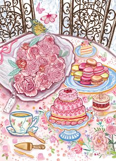 Luxury greeting cards and silk scarves by Award-Winning British designer Katie Craven Luxury Cushions, Scarf Design, Tea Cakes, Illustration, Greeting Cards, Fairy, Wallpapers, House, Home