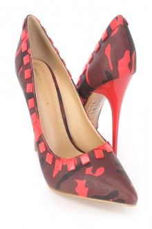 Red Camouflage Print Pump Heels Faux Leather