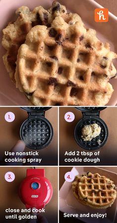 Mini Waffle Recipe, Waffle Maker Recipes, Yummy Treats, Sweet Treats, Yummy Food, Waffle Pops, Dash Recipe, Dessert Games, Waffle Cookies