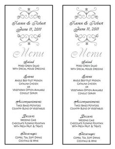 Free Wedding Menu Template For A DIY ProjectNote You Need A - Photoshop wedding program template