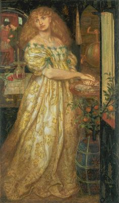 """""""Lucrezia Borgia"""" - Dante Gabriel Rossetti, 1860-1861) ..... Rossetti began work on this subject in 1860 at a time when he was especially interested in the history of the infamous Borgia family. In this watercolour Lucrezia Borgia washes her hands after poisoning her husband, Duke Alfonso Bisceglie..."""