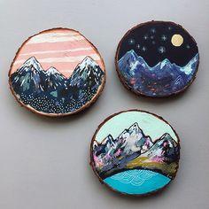 mountain painting on cedar