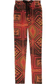 Sandro|Paprika printed crepe tapered pants|NET-A-PORTER.COM