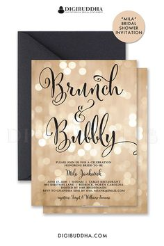 Bokeh Brunch & Bubbly Invitations for bridal shower brunch to honor the bride-to-be or turned into wedding invitations. Black script calligraphy lettering and twinkling lights sparkle bokeh. Choose from ready made printed invitations or printable brunch & bubbly shower invitations. Matching envelope liners and black envelopes also available, at digibuddha.com