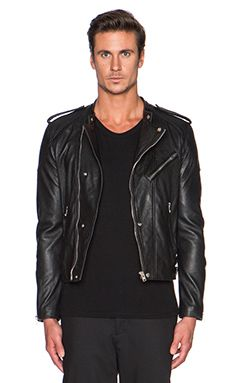 The Kooples Washed Lamb Leather Motorcycle Jacket in Black - revolveclothing.com