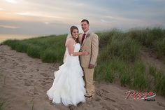 Mr. & Mrs., after their wedding, in the dunes, Benton Harbor