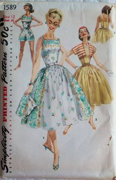 """1950's Vintage Sewing Pattern Misses' One-Piece Playsuit, Skirt & Jacket - Size 12 Bust 30"""" Simplicity 1589"""