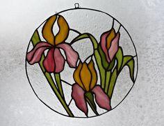 Stained Glass Panel Suncatcher Irises Window Decor Original