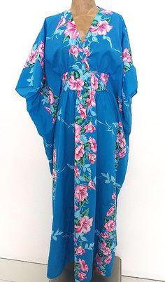 Helena's Dress Size Medium Hawaiian MuuMuu Kaftan Vintage 70s Long Caftan #Helenas