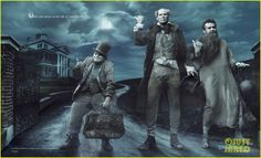 """""""Where you can go on the ride of your afterlife"""" Jack Black, Will Ferrell and Jason Segel as Phineas, Ezra and Gus, the Hitchhiking Ghosts of The Haunted Mansion – Disney Dream Portrait by Annie Leibovitz Disney Parks, Walt Disney, Disney Love, Disney Magic, Disney Theme, Disney Guys, Haunted Mansion Disney, Will Ferrell, Jack Black"""