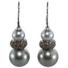 Turquoise Diamond Drop Earrings at 1stdibs