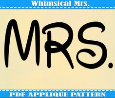 Disney Mickey Minnie Mrs Applique Pattern Template PDF Download Instant Fabric Shirt Design Print Groom Wedding Bride Tux Tote DIY Quilt Mouse Fairytale Walt