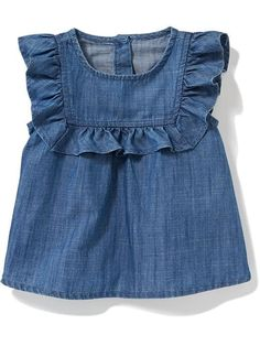 Shop Old Navy's collection of bodysuits and tops for your baby girl. Old Navy is your one-stop shop for stylish and comfortable baby clothes at affordable prices. Baby Girl Frocks, Kids Frocks, Frocks For Girls, Dresses Kids Girl, Kids Outfits, Baby Girl Fashion, Kids Fashion, Baby Frocks Designs, Baby Dress Design