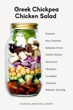 Healthy Greek Chickpea Chicken Salad loaded with chickpeas grilled chicken feta kalamata olives red onion tomato and a homemade light greek dressing. This light and simple salad includes mediterranean flavors that infuse beautifully together. Mason Jar Lunch, Mason Jar Meals, Meals In A Jar, Mason Jar Recipes, Mason Jars, Easy Salads, Healthy Salads, Healthy Recipes, Healthy Lunches