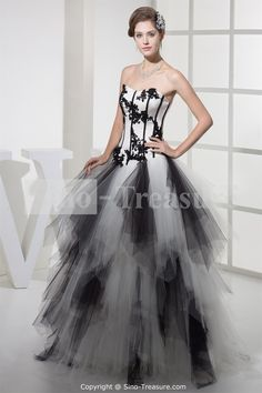 Black/White Satin/Fine-netting Floor-Length A-Line Sweetheart Beading Prom Dress Wholesale Price: US$279.99