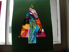 Melted crayon Christmas trees-