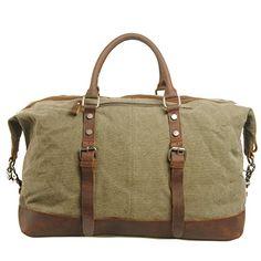 Fourre-tout Hommes Femmes de haut qualité de toile de coton et cuir véritable bandoulière Voyage Duffle pour Week-end Satchel d'emballages de sac à main bandoulière cabas (OD) Everdoss http://www.amazon.fr/dp/B00LWY8TCO/ref=cm_sw_r_pi_dp_0JzFub02EHQF2