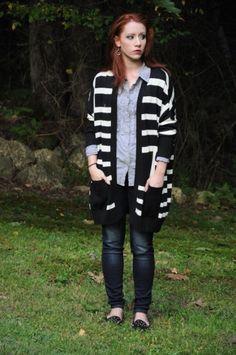 Striped Oversized Cardigan - Catherine Malandrino