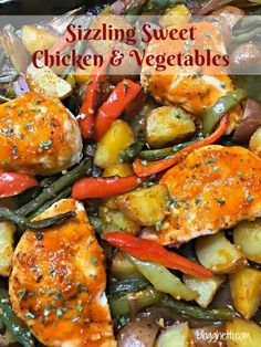 Sizzling sweet chicken and vegetables is a one-pan meal that isn't overly spicy but does have a kick. It's a perfect weeknight meal and leftovers are great for lunch the next day. Spicy Recipes, Asian Recipes, Chicken Recipes, Ethnic Recipes, Delicious Recipes, Easy Dinner Recipes, Easy Meals, Recipe Sheets, Whole 30 Diet