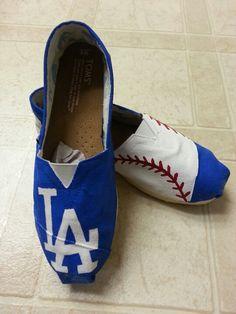 LA Dodgers baseball hand painted toms! $55, includes toms!! facebook.com/SassyYourSole
