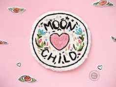 Hand Embroidered Witch Patch Moon child Patch Patch for Embroidery Patches, Cross Stitch Embroidery, Embroidery Patterns, Hand Embroidery, Cute Patches, Pin And Patches, Sew On Patches, Feminist Patch, Wiccan